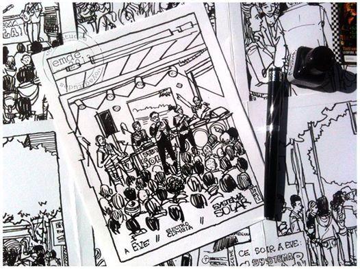 El Systema Solar por David Emdé Magli. Dibujo hecho con marcador en el concierto de Grenoble.